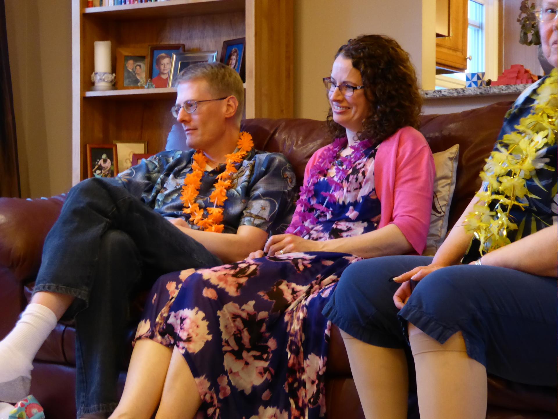 """Randy and Tara at the """"Hawaiin"""" birthday party - 2015"""
