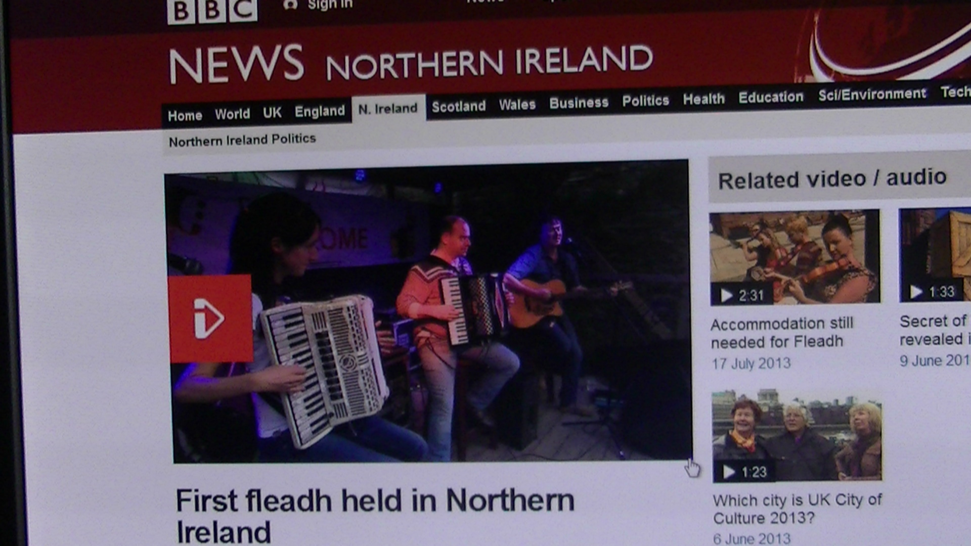 The Fleadh. Missing Time on the BBC News!