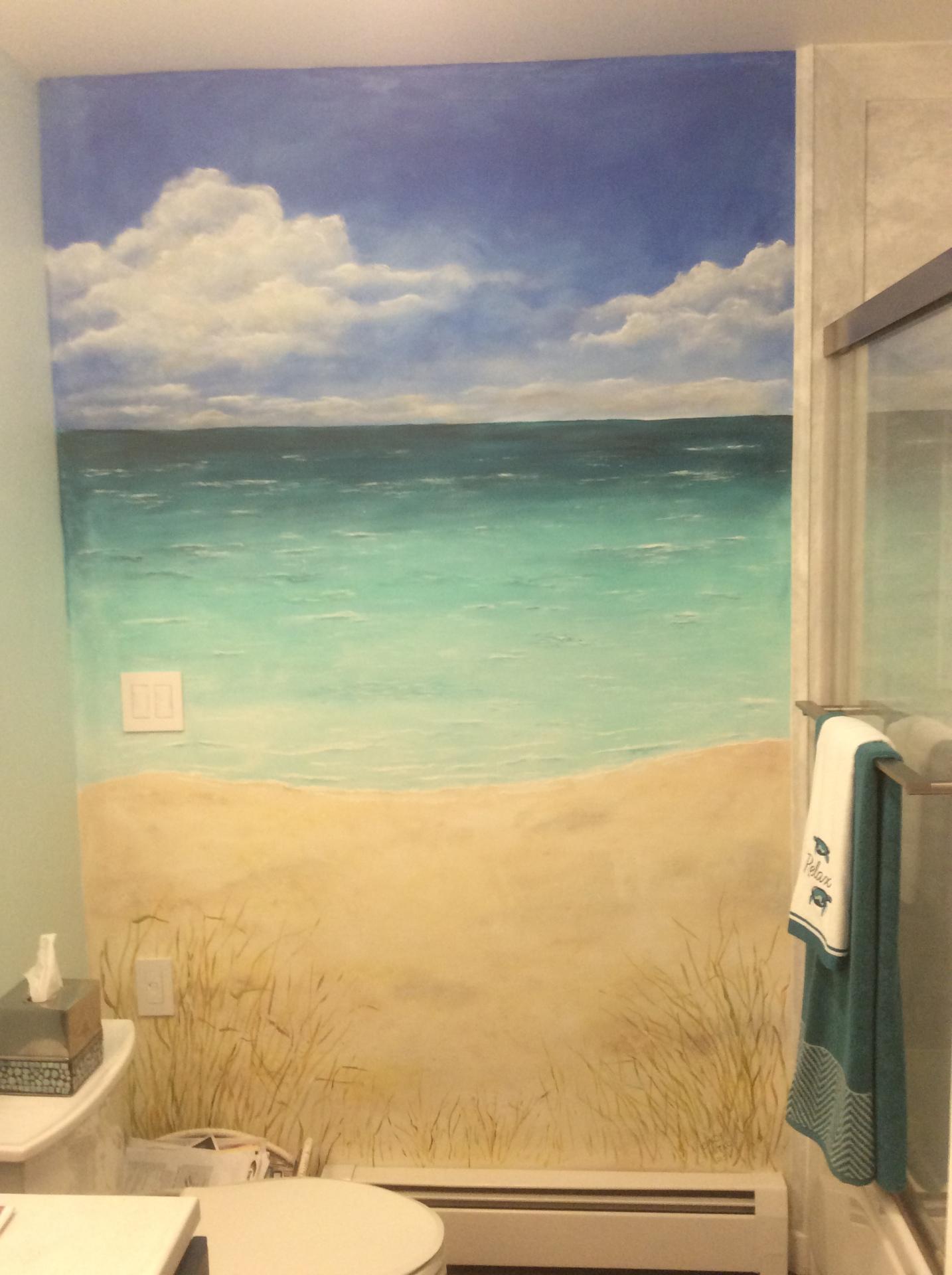 Beach scene wall mural