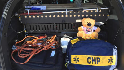 The Teddy Bears ride in every CHP 1st responder vehicle