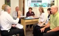 Staff meeting in an optometry practice