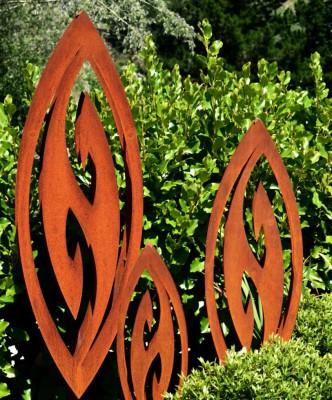 rusty Corten fish hook sculptures