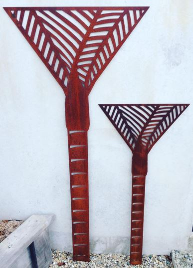 corten nikau wall art