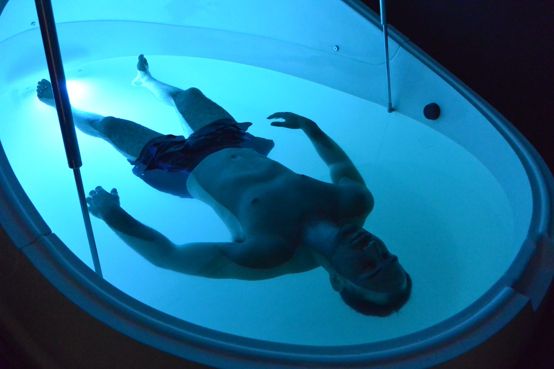Floatation thepay pod with light blue LED light