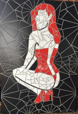 Mosaic Art, lady, Tile Art, Design