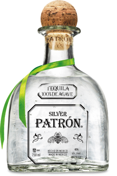 Silver Tequila, Patron $52 / 750mL, $32 / 375mL, $8 / 50mL (Mini)