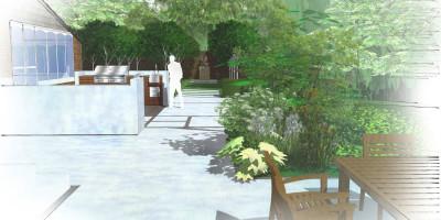 Outdoor kitchen design | A Sussex Dower House | John Ward Garden Design