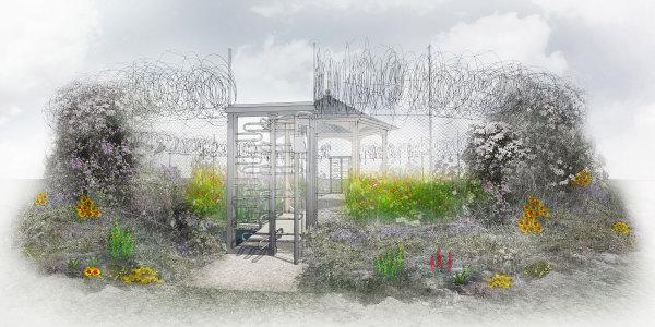 Visual of outer rim of the UNHCR Border Control Garden