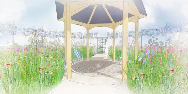 Visual of central meadow of the UNHCR Border Control Garden