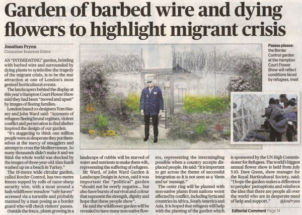 Evening Standard Article on the UNHCR Border Control Garden