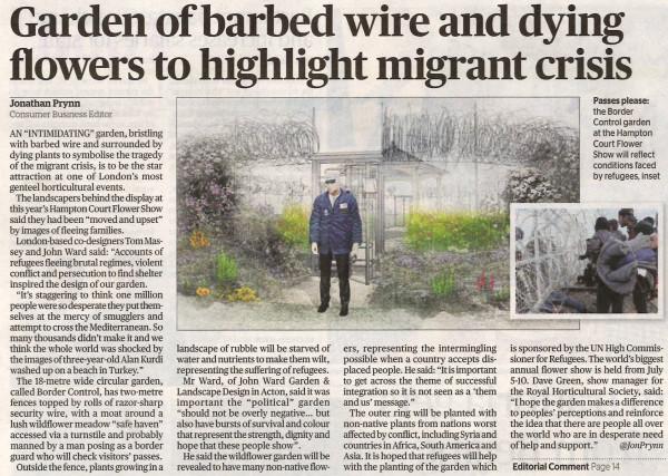 Evening Standard Article on the UNHCR Border Control Garden