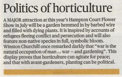 Evening Standard piece on the UNHCR Border Control Garden