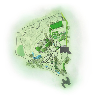 Master plan by John Ward Garden Design for this large listed garden