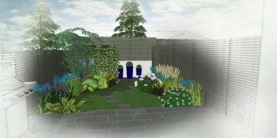 Visual of a small Chiswick garden designed by John Ward Garden Design