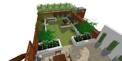 Overview visual of Balham garden designed by John Ward Garden Design