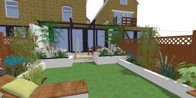 Visual of new pergola in a Balham garden designed by John Ward Garden Design