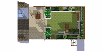 Plan of a Balham garden designed by John Ward Garden Design