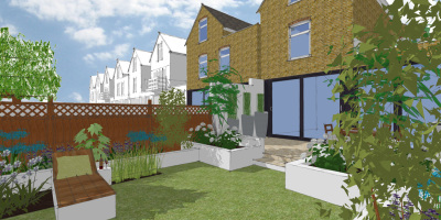 Visual showing architectural planting in a Balham garden designed by John Ward Garden Design
