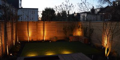 Photo of Acton garden lighting designed by John Ward Garden Design