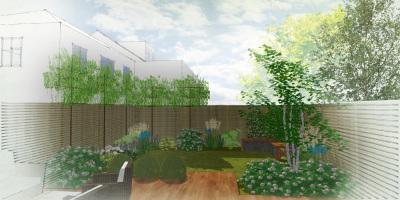 Visual of Acton garden designed by John Ward Garden Design
