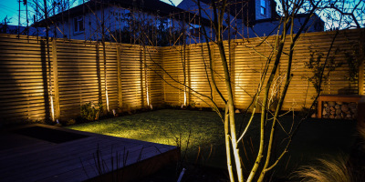 Photo of Acton garden lighting designed by John Ward Garden Design