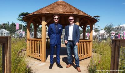 Photo of John Ward & Tom Massey who designed the UNHCR Border Control Show Garden