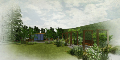 Visual showing a view to the garden studio in a family garden designed by John Ward Garden Design