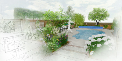 Visual showing the view from the house to the new garden design