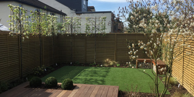 Photo of Acton garden designed by John Ward Garden Design with trees in bloom