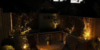 Photo of garden at night with subtle lighting
