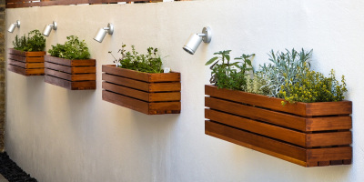 Bespoke herb planters made from cedar and mounted on a wall