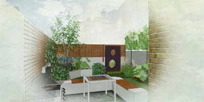 Colour rendered visual of garden