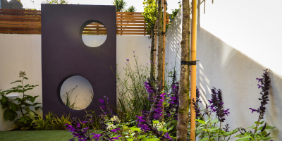 Purple sculptural garden feature