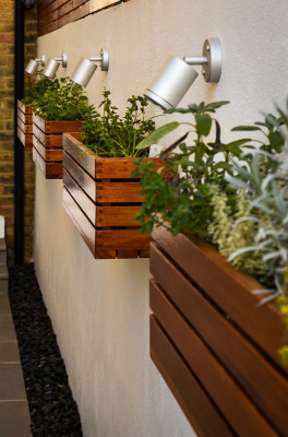 Wall lights sitting between the herb planter