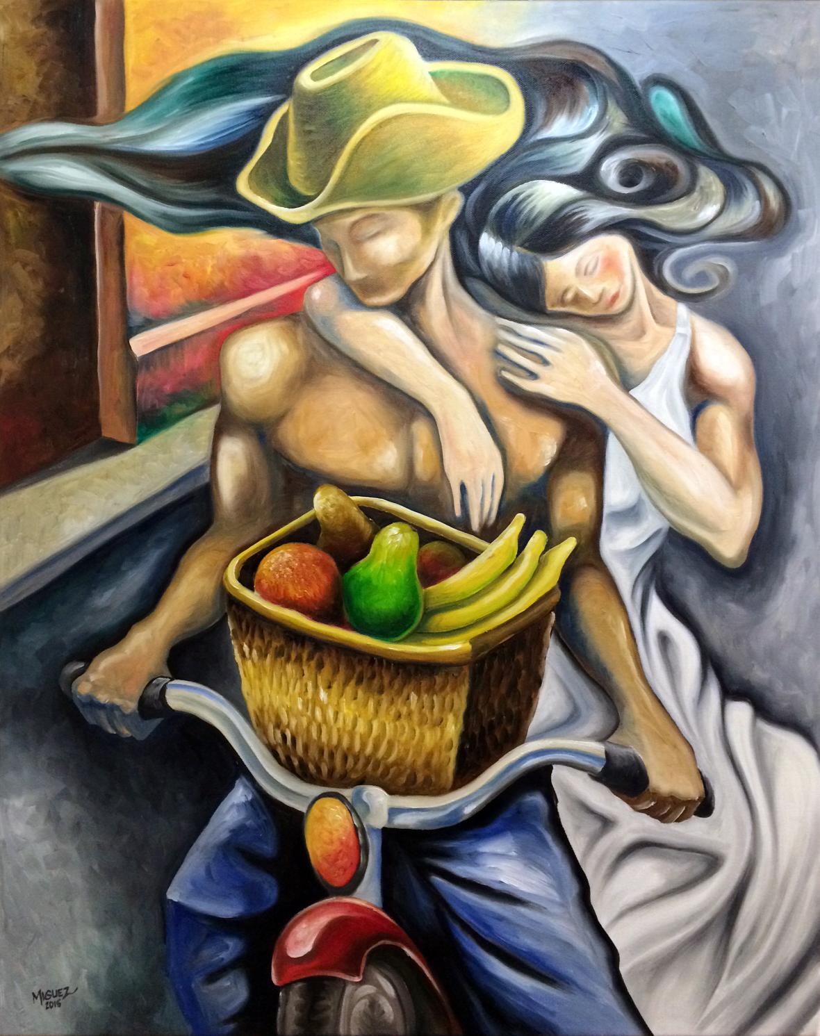 """Frutas en Bicicleta. 24""""x30"""" Original Oil on Canvas"""