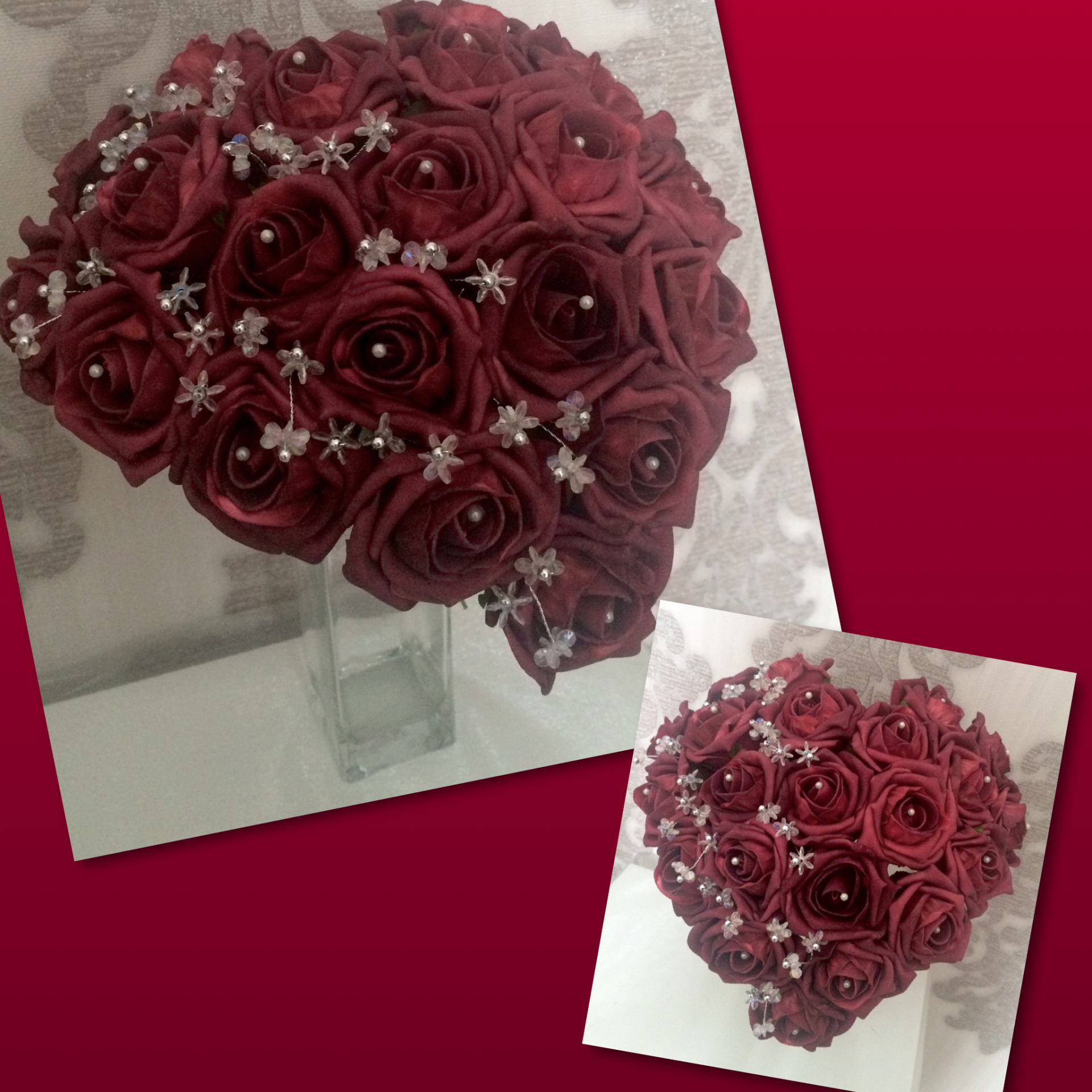 Vintage Red Rose Loveheart Bouquet with crystal flower embellishments £35