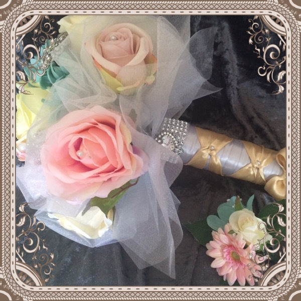 Romantica Pastels Rose & Peony with organza touches Bridal Bouquet 2 pc ££50