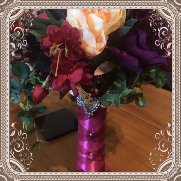 Winter Berry reds & plum Rose & peony with foliage Bride Bouquet large £80