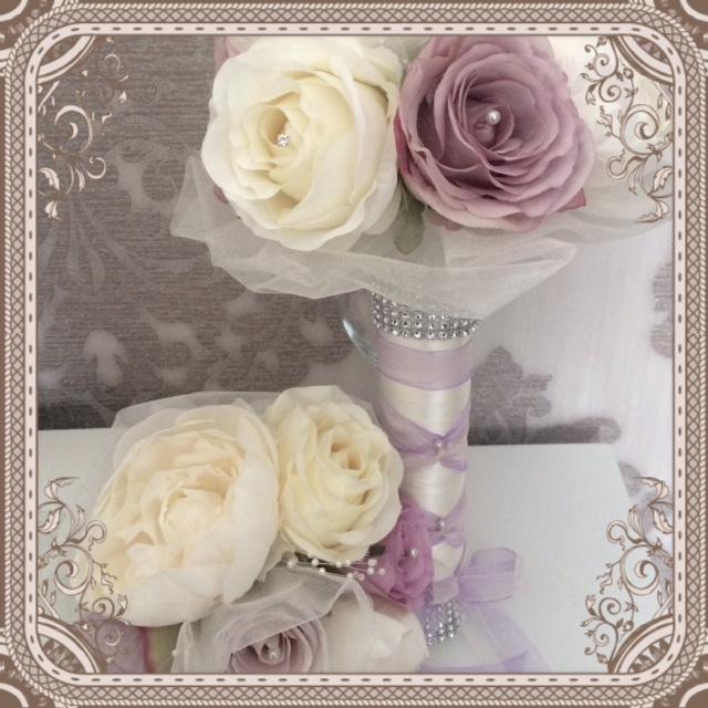 Romantica Rose & Peony Bride & Bridesmaid Bouquet with organza pearl & diamante touches