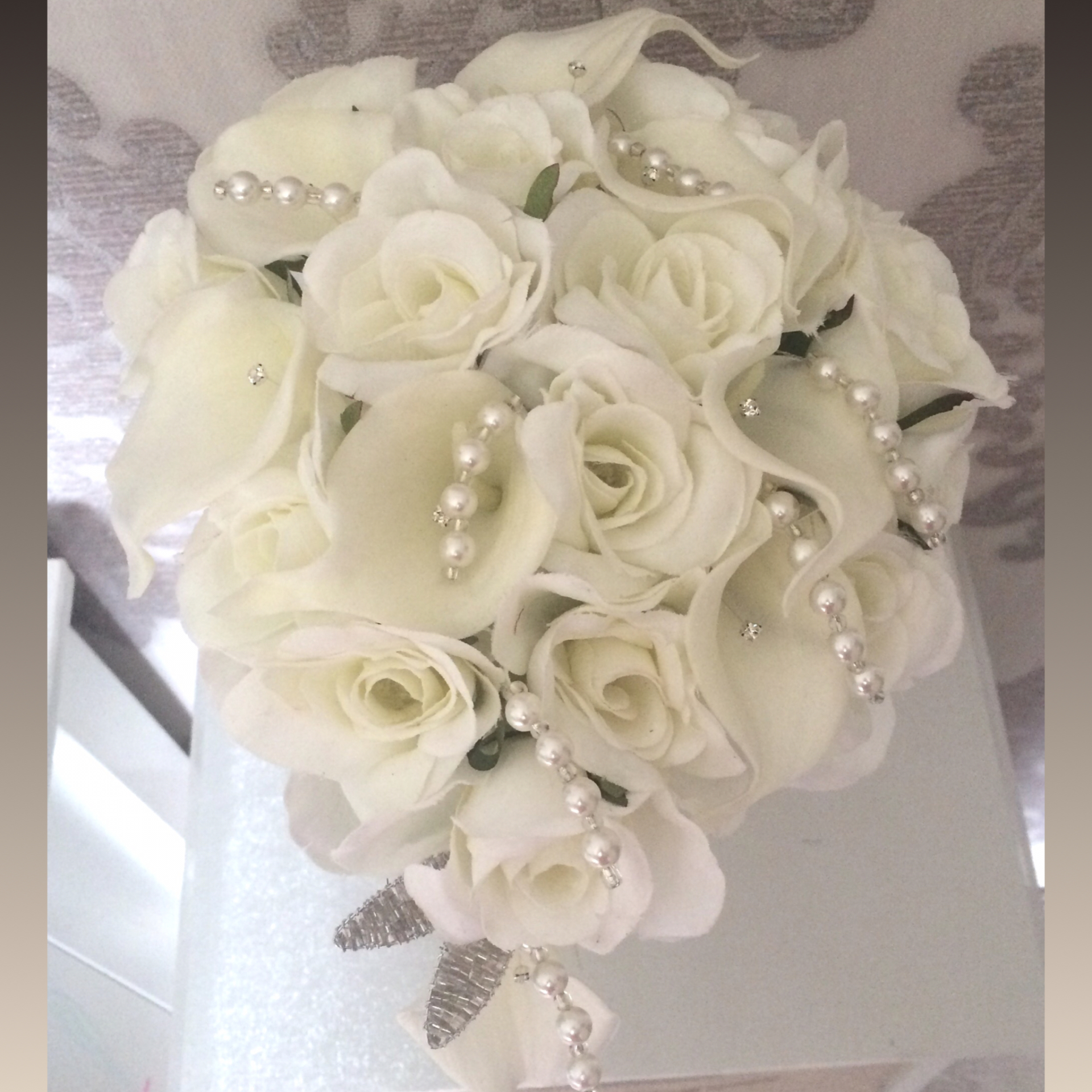 Pale Ivory Calla lily & Rose Teardrop Bride Bouquet With Pearl & Diamante touches