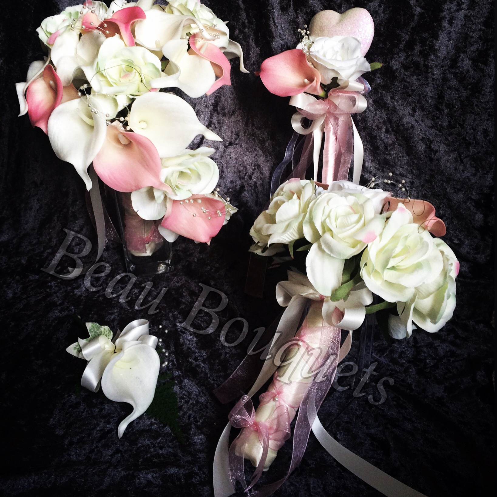 Teardrop Twist Real touch Calla Lily & Rose Loveheart Bride Bouquet £48