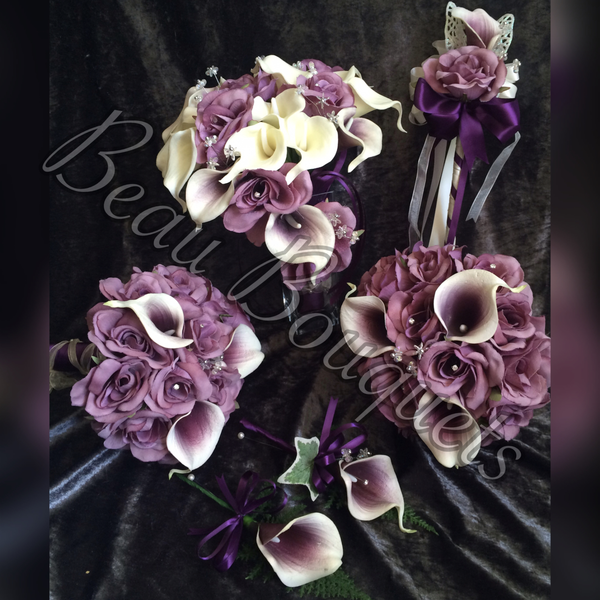 Plum & Ivory Teardrop Twist with real touch calla & Rose Bouquet 6pc  package £115