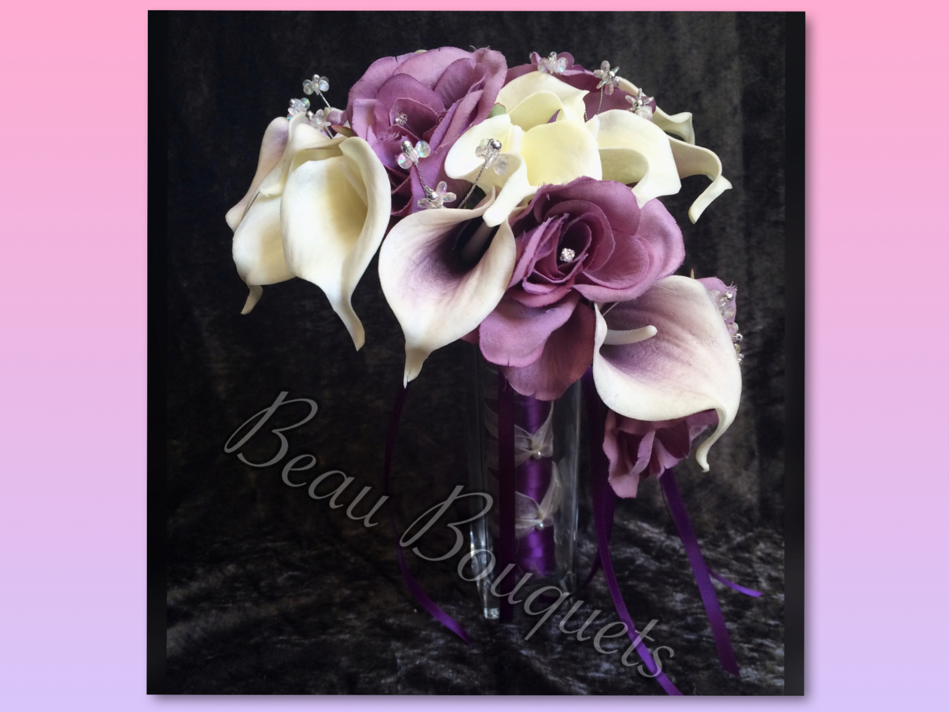 Plum & Ivory real touch calla lily & Rose Bouquet with Diamante & Crystal Flower touches £48