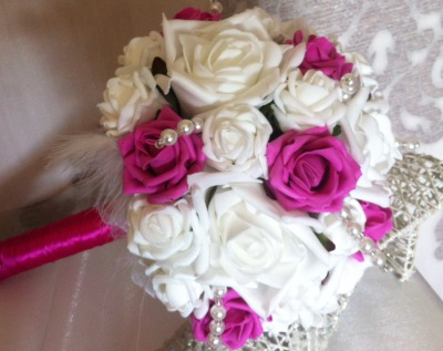 Cerise & white Rose Bouquet with Pearl spray touches