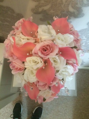 Real Touch Calla Lily & Rose Love Heart Bride Bouquet from £48