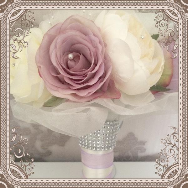 Romantica Lilac & ivory rose & peony Bride Bouquet with organza pearls & diamantes £45