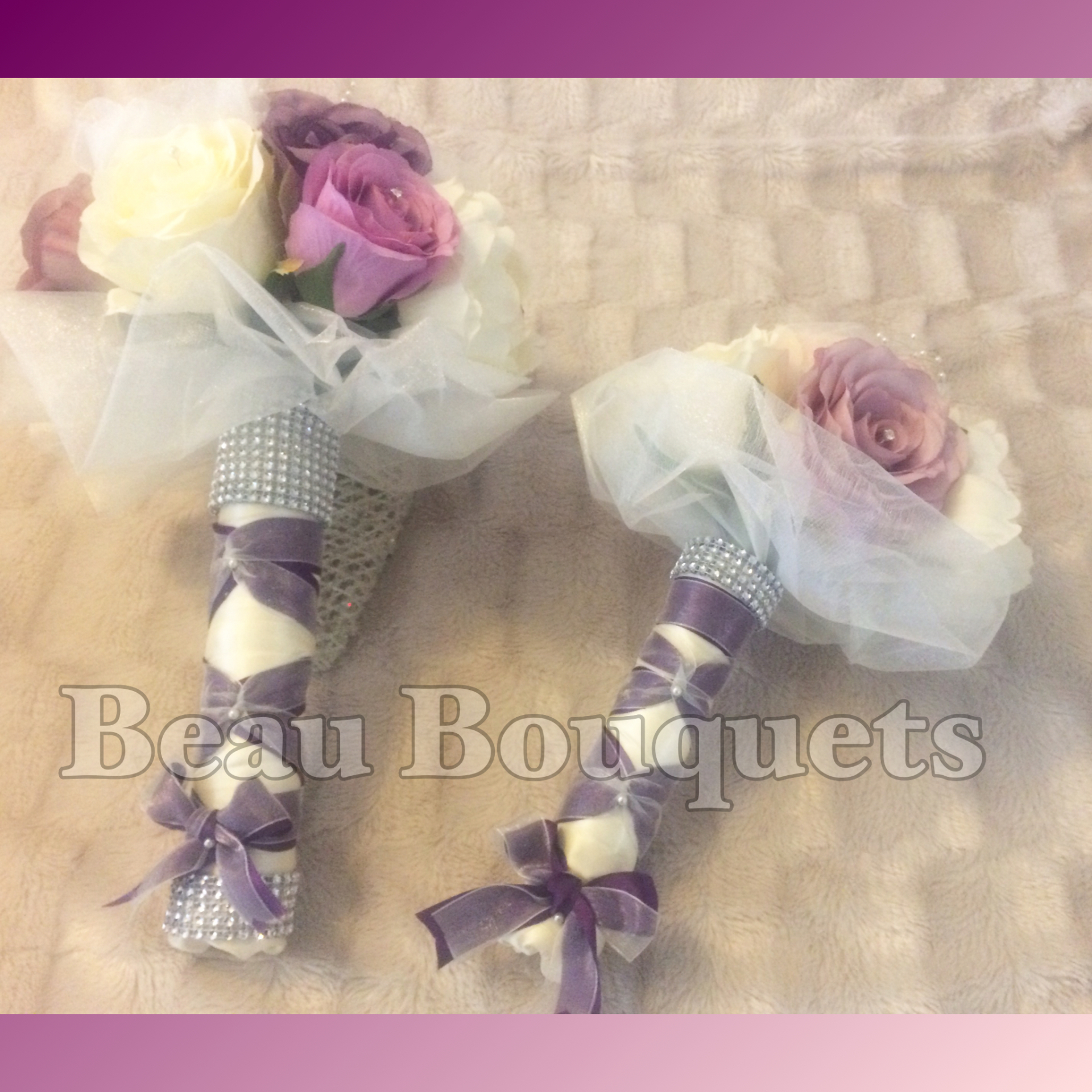 Romantica Plum lilac & ivory with organza touches Bridal 2 pc package £65
