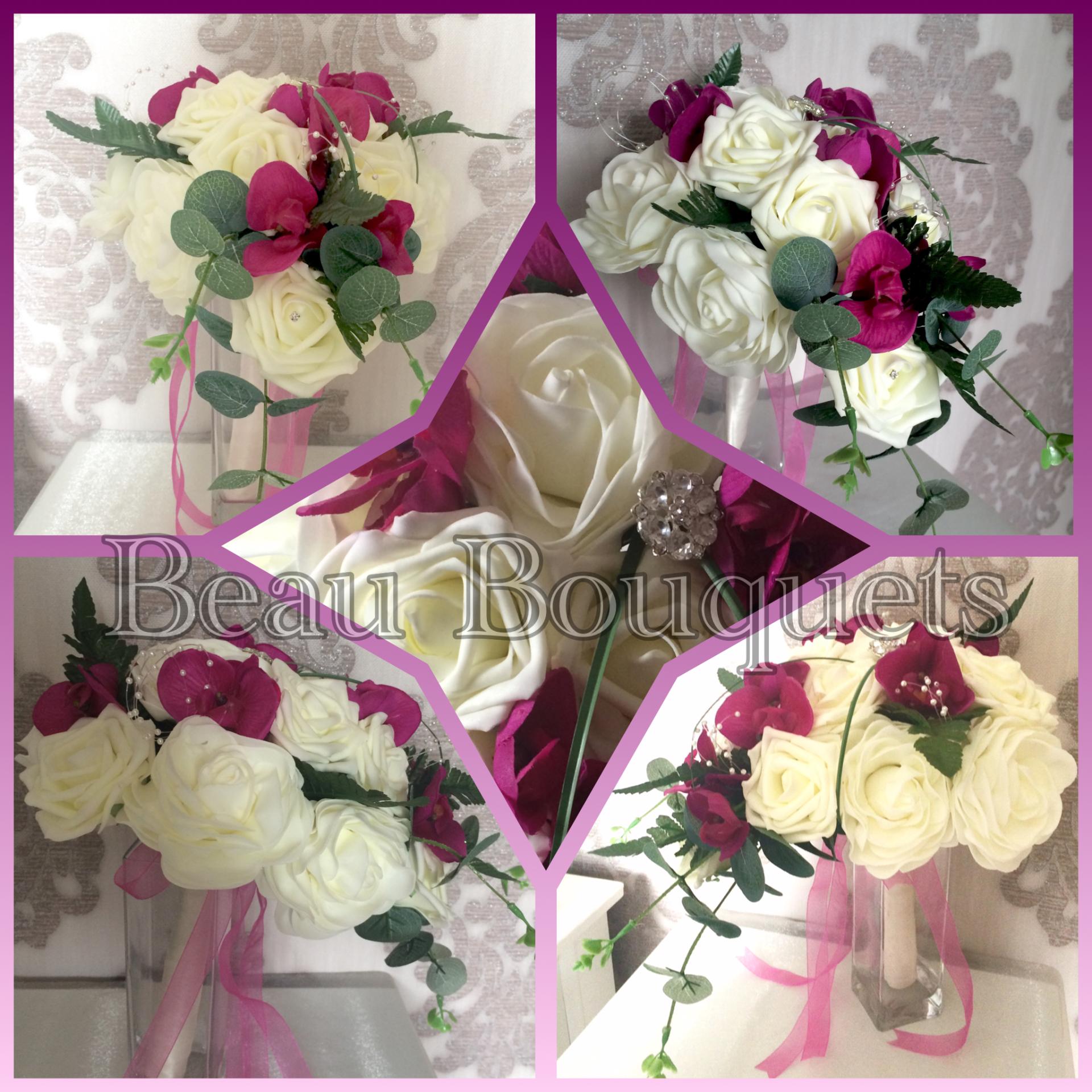 Rose Camelia & orchid Teardrop Bride Bouquet with eucalyptus fern & grass £65