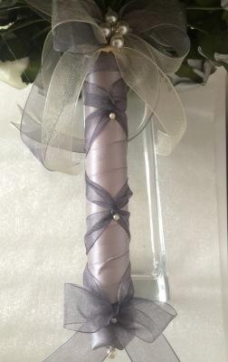 Silver satin ribbon handle with organza ribbon trim with pearl pin detail