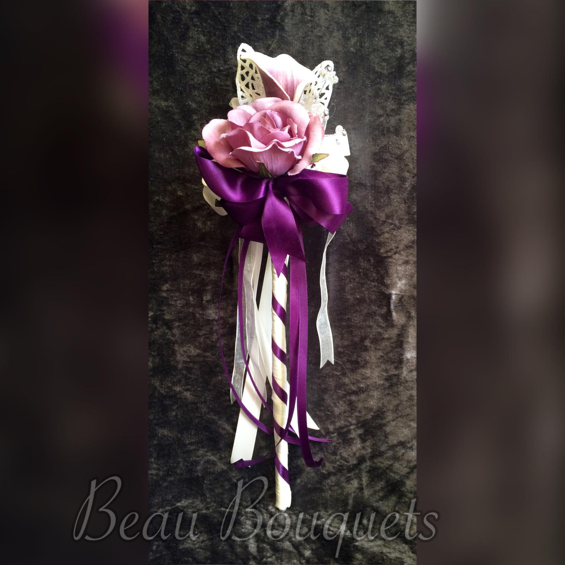 Plum & Ivory calla lily & rose Flowergirl Wand £12